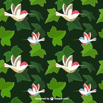 Pattern with birds and leaves