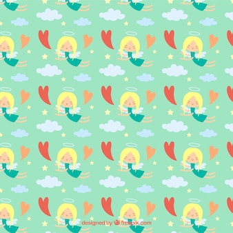 Pattern with cute angels