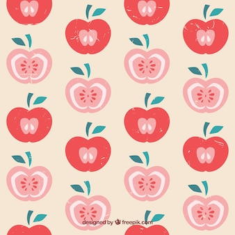 Pattern with hand drawn apples