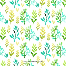 Pattern with watercolor leaves