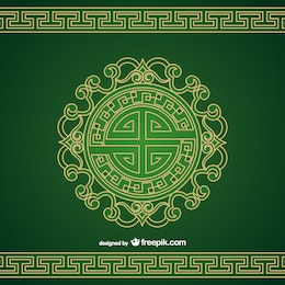 Patterned chinese ornament vector