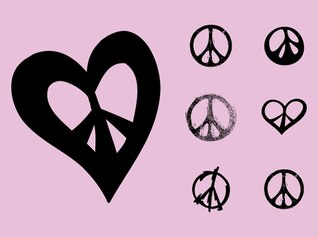 Peace symbols flower power vector