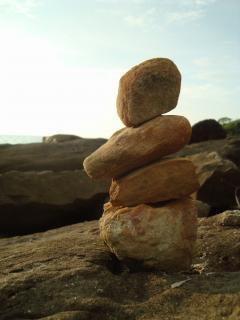 Pebble balance by the sea