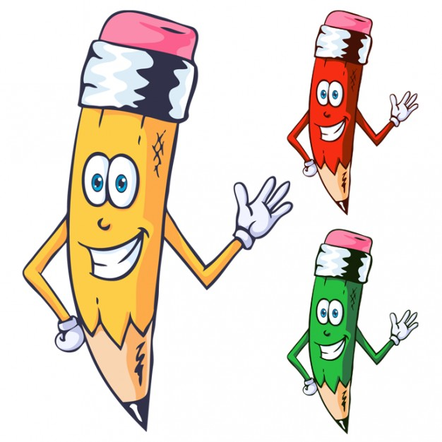 Pencil Character different colors
