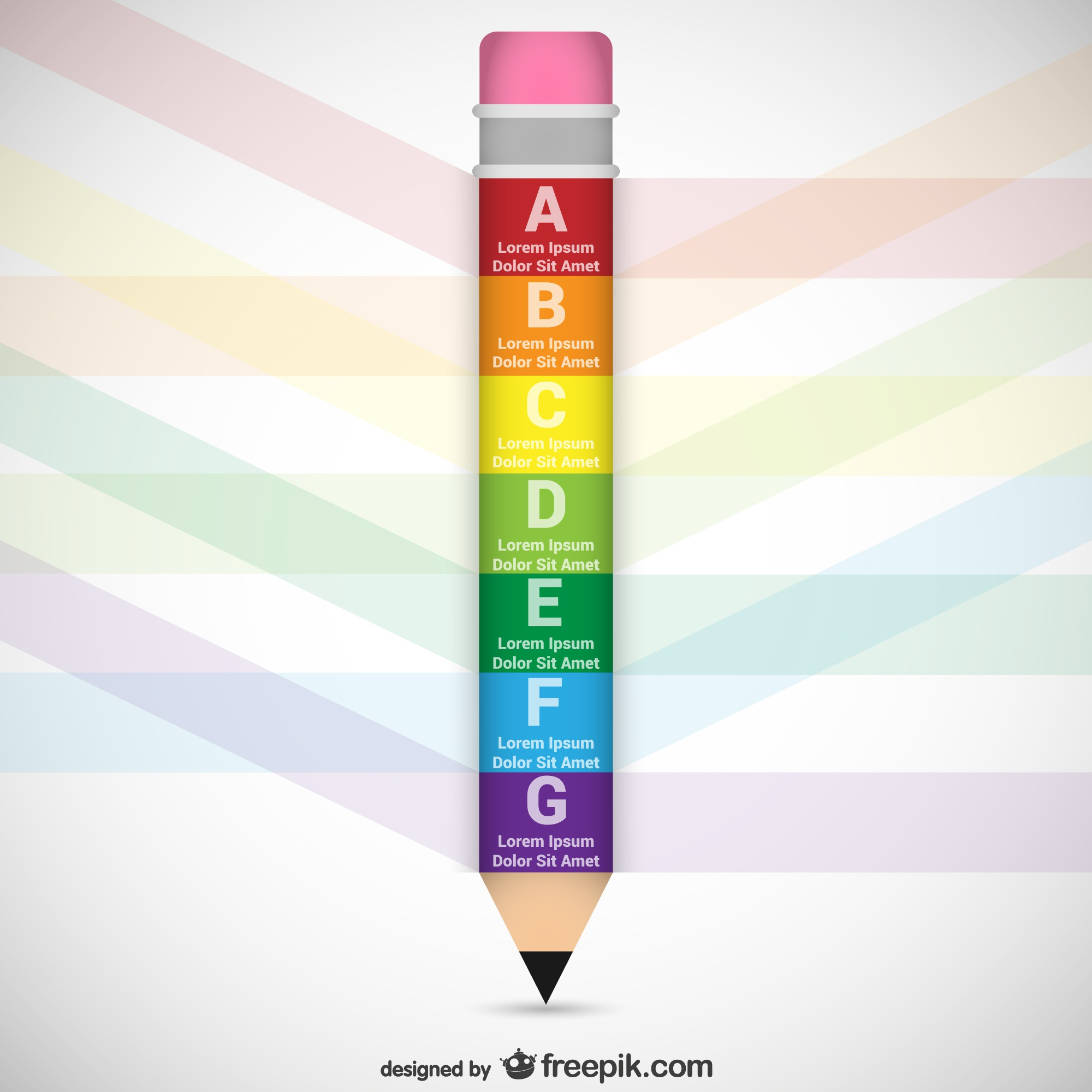 Pencil shaped infographic template