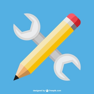 Pencil wrench web development concept vector