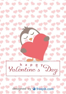 Penguin in Love Cartoon Valentine's Day Card