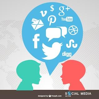 People chatting social media symbols