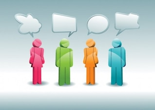 People icons with different dialog speech bubbles