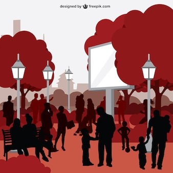 People in city park silhouette vector art