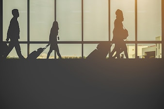 People Silhouette in glass