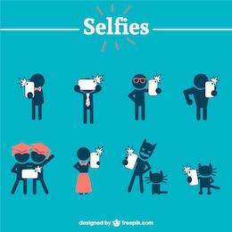 People silhouettes taking selfies