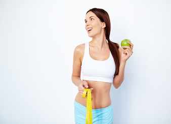 People slim measuring dieting shape