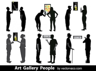 Peoples In Art Gallery Silhouettes