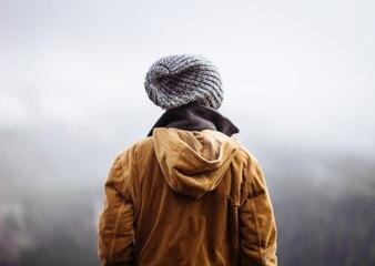 Person admiring mist