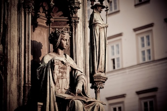 Personification of the Faculty of Law, decoration of the statue of Charles IV. Prague, Czech Republic