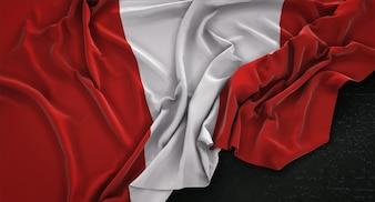 Peru Flag Wrinkled On Dark Background 3D Render