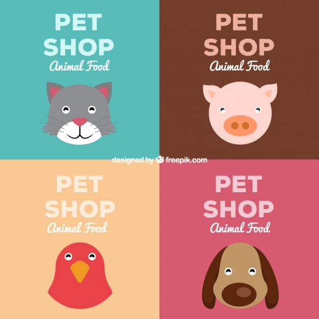 Pet shop retro drawing posters