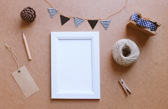 Photo frame mockup and cute craft decorated