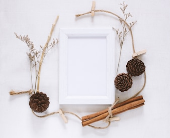 Photo frame mockup and stationery for creative work design with copy space