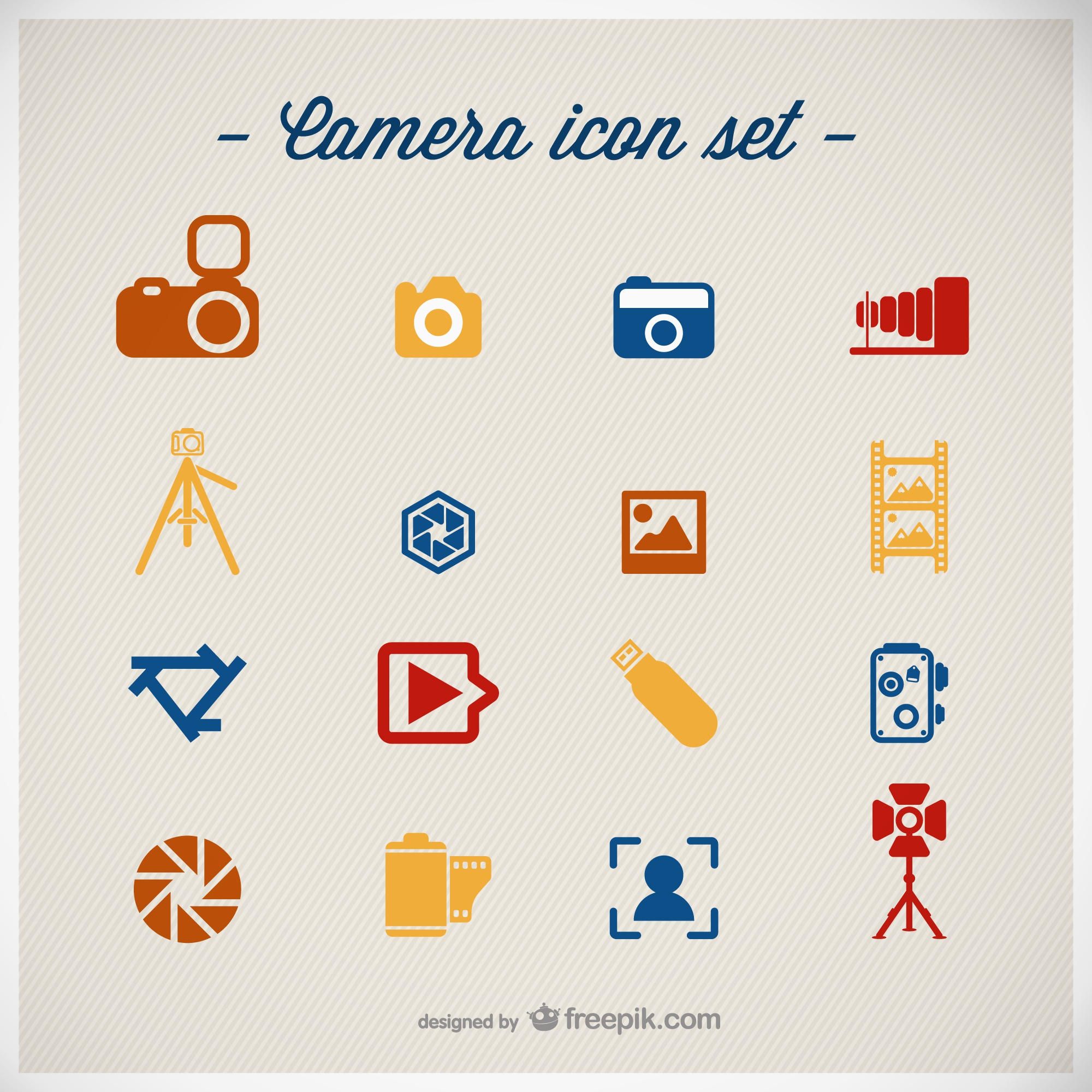 Photography icons set flat design