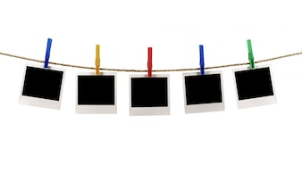 Photos on a rope with clothespins