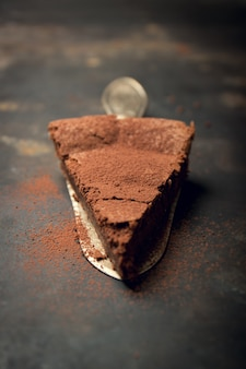 Piece of chocolate cake topped with cocoa