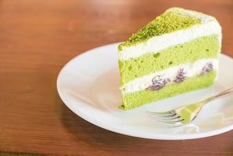 Piece of tasty matcha cake