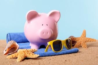 Piggybank on a beach