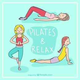 Pilates and relax cartoon vector