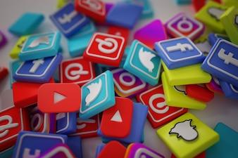 Pile of 3D Popular Social Media Logos