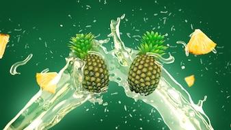 Pineapple juice splash background