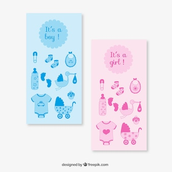 Pink and blue baby shower cards