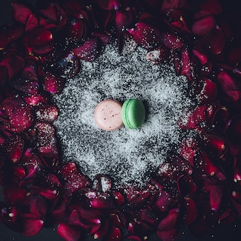 Pink and green macaroon lie on white powder in the circle of red rose petals