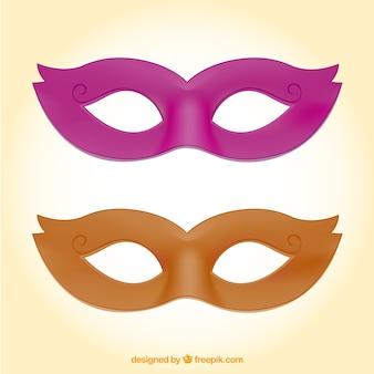 Pink and orange carnival masks