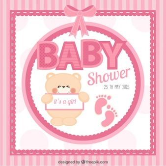 Pink baby shower card with a bear