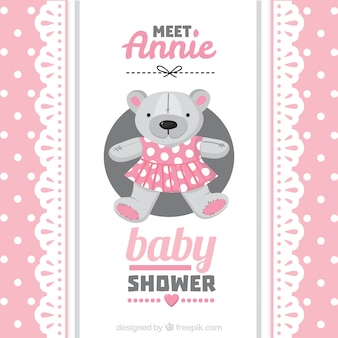 Pink baby shower card with a teddy bear