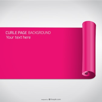 Pink curled page vector