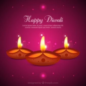 Pink Diwali background with candles