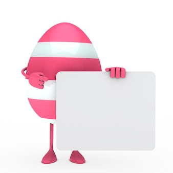 Pink egg with a poster