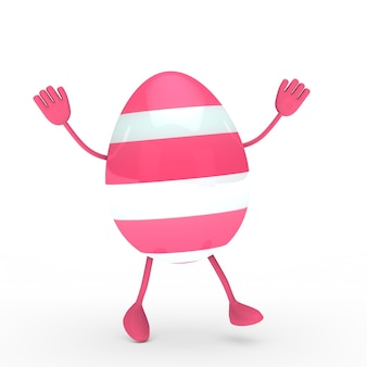 Pink egg with hands and feet