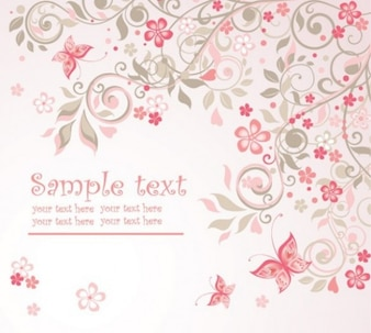 Pink floral butterfly abstract background