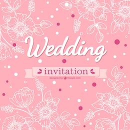 Pink floral wedding card