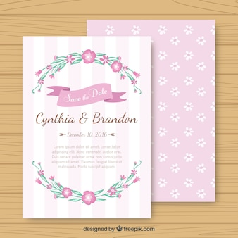 Pink floral wedding card