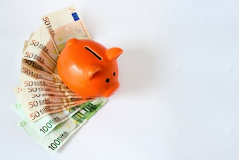 Pink piggy bank on money, euros bills