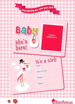 Pink postcard paper banner