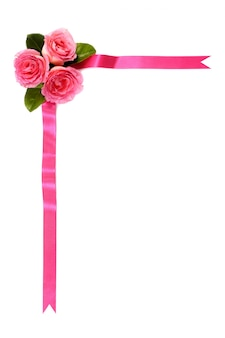 Pink ribbon with pink flowers