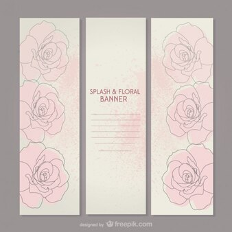 Pink roses banners set