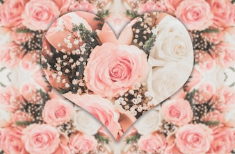 Pink roses with heart shape