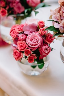 Pink tiny roses in close-up